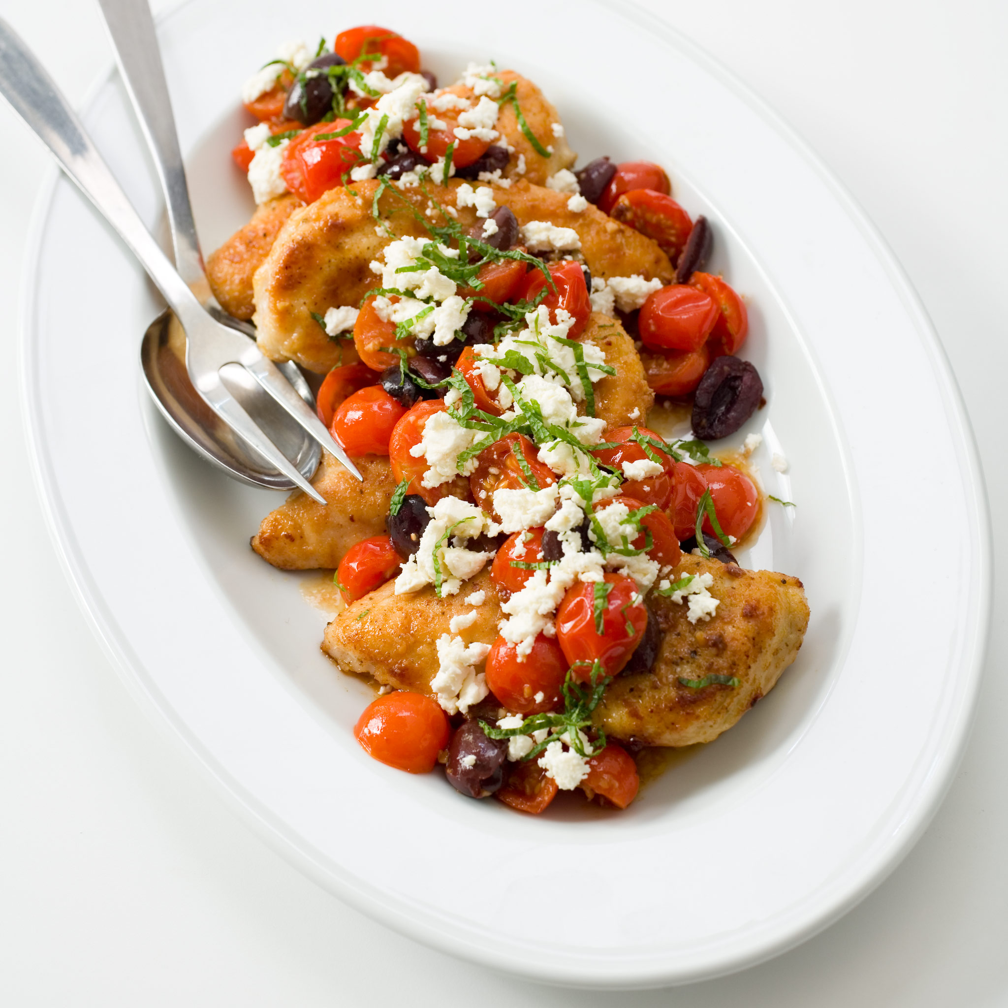 Sautéed Chicken with Cherry Tomatoes, Olives, Feta, and Mint Recipe ...