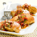 Garlic Chicken with Sweet Roasted Pepper Sauce