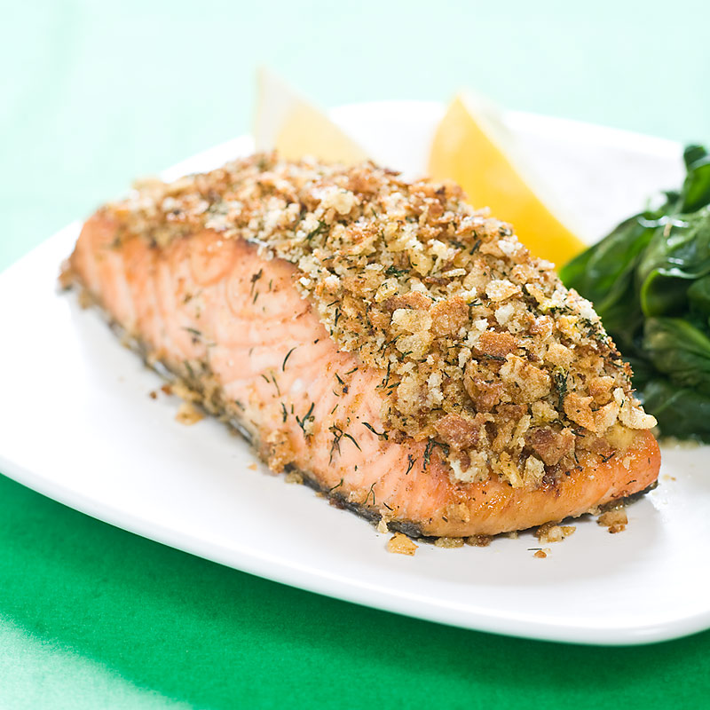 Broiled salmon with potato crust cook 39 s country for Potato crusted fish