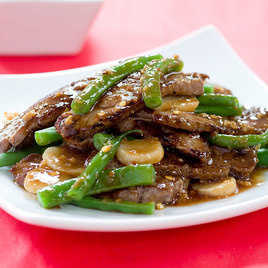 Stir Fried Beef With Green Beans And Water Chestnuts