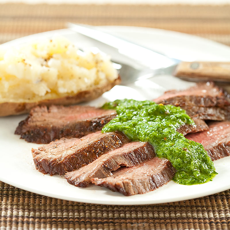 Seared Flank Steak with Chimichurri Sauce   Cook's Country