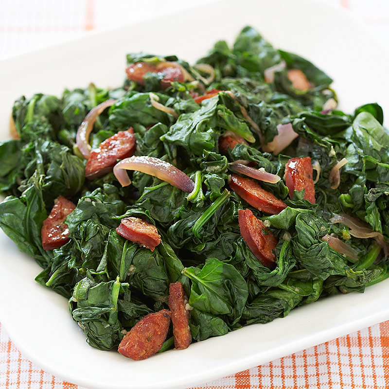 Garlicky Greens with Andouille and Onion