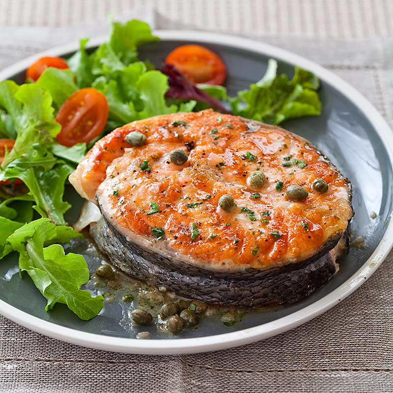 Grilled Salmon Steaks With Lemon-Caper Sauce