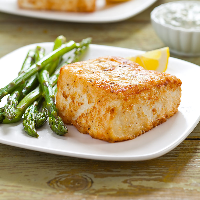 Pan seared halibut with arugula basil aioli cook 39 s country for Pan seared fish recipes