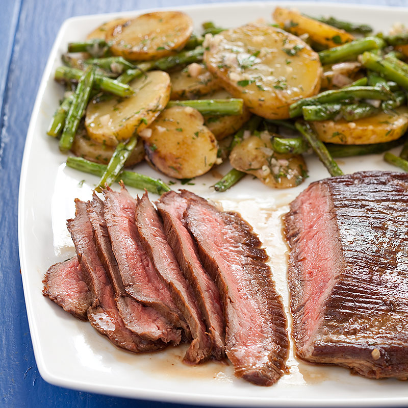 Flank Steak with Herbed Potatoes and Green Beans Recipe - Cook's ...