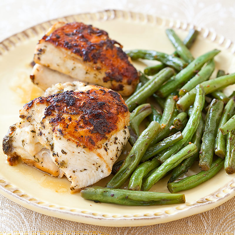 Herb-Roasted Chicken with Dijon Green Beans | Cook's Country