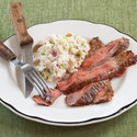 Flank Steak with Loaded Smashed Potatoes
