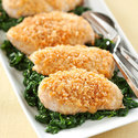 Cheddar-Crusted Chicken with Garlicky Spinach