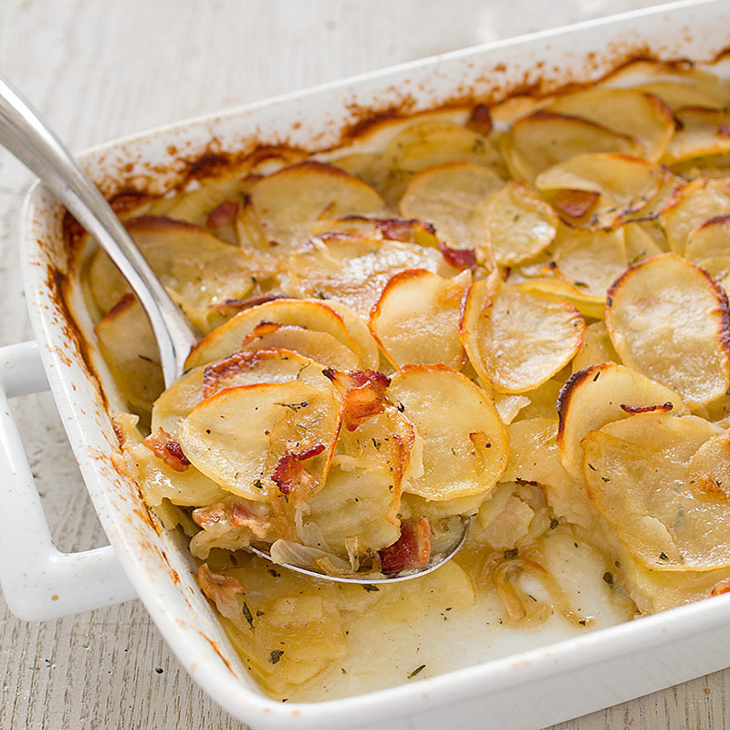 Potato Casserole with Bacon and Caramelized Onion