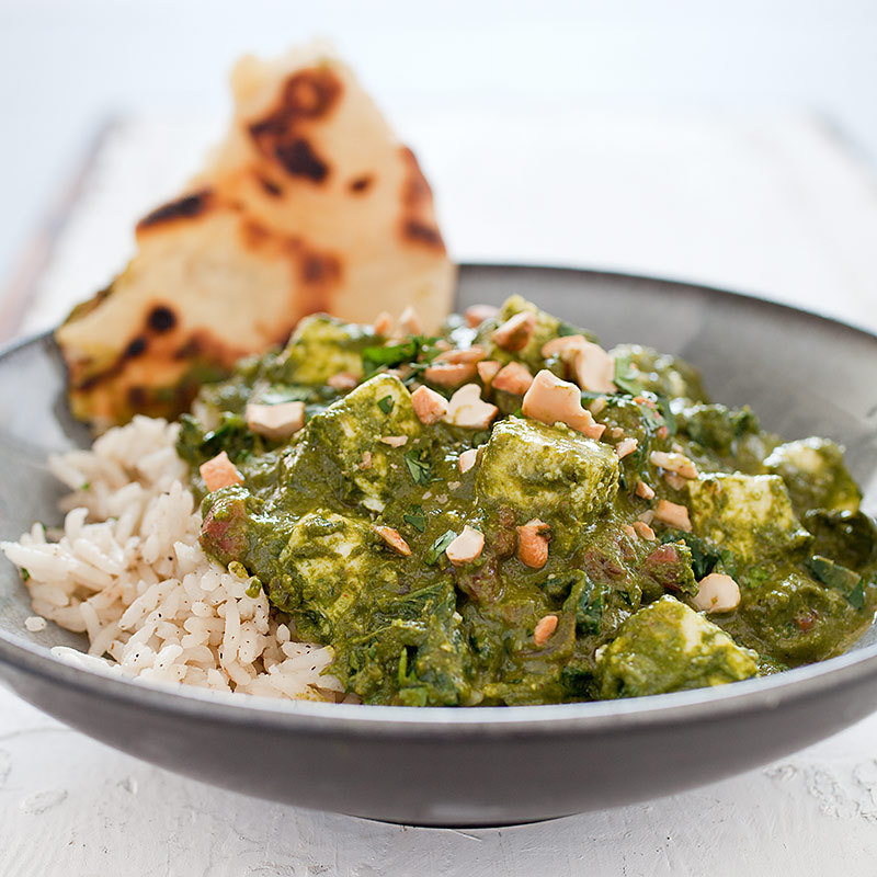 Indian-Style Spinach with Fresh Cheese (Saag Paneer)