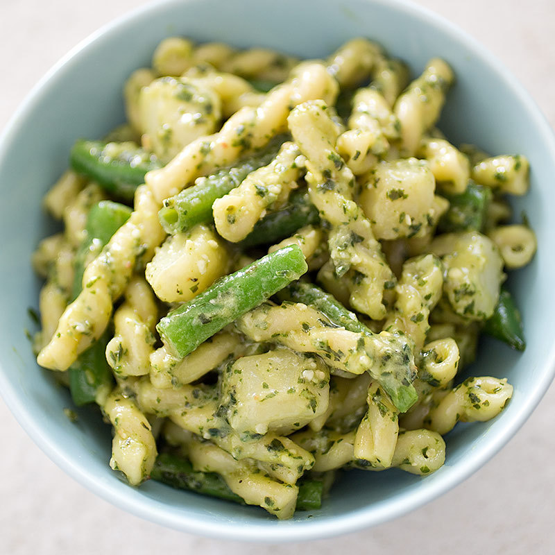 America S Test Kitchen Pasta With Pesto Potatoes And Green Beans
