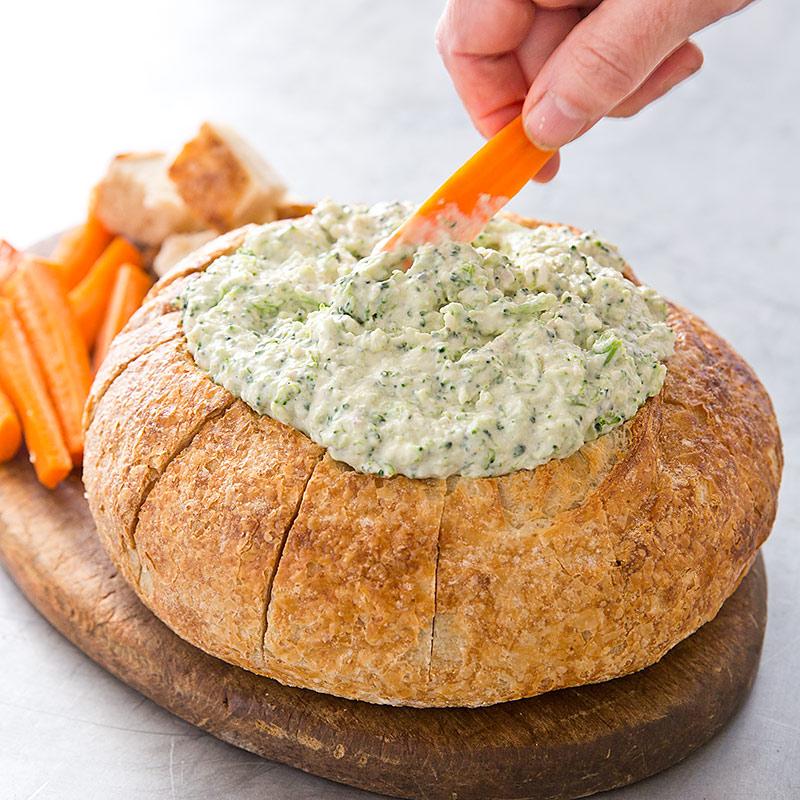Broccoli Dip In A Bread Bowl