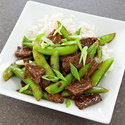 Sichuan-Style Orange Beef with Sugar Snap Peas