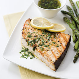 Grilled Swordfish Steaks with Lemon-Parsley Sauce